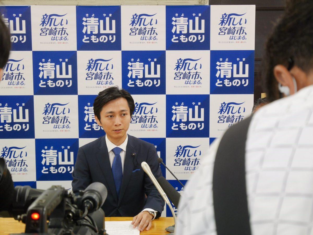 宮崎市長選について、県庁で記者会見を行いました。