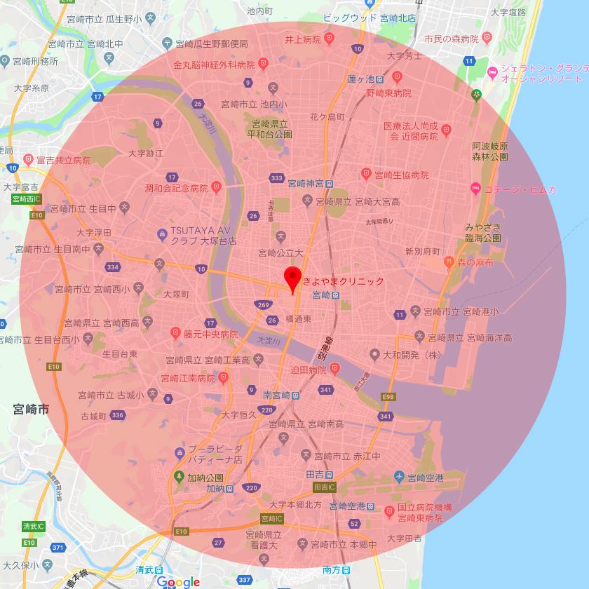 訪問地域の範囲の地図